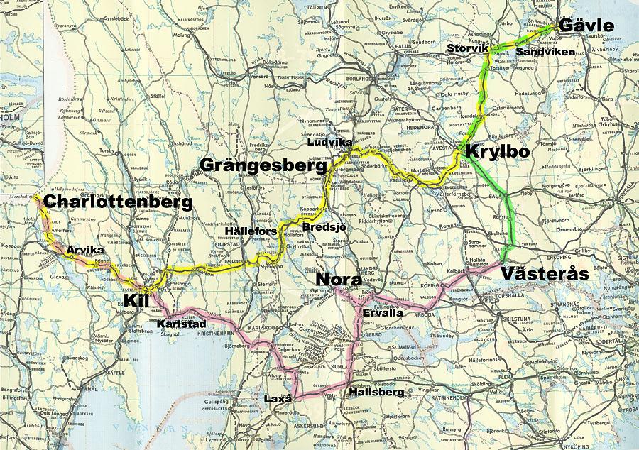 midt sverige kart Svein Sandos jernbanenettsted :: Järnvägen 150 år 2006 midt sverige kart